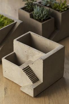 Cement Architectural Plant Cube Planter II