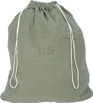 "G.I. 100% cotton laundry bag with drawstring closure. Used Condition. 25""W x 30""L. O.D. Green"
