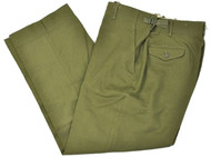 USGI OD green 100% wool M1951 field pants with 2 hip flap- covered rear pockets, 2 slant front pockets, belt loops, waist adjustment tabs, suspender attachment loops and a zipper fly.