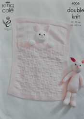 King Cole baby blanket knitting pattern 4006