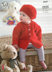 King Cole Baby Aran knitting pattern 4947