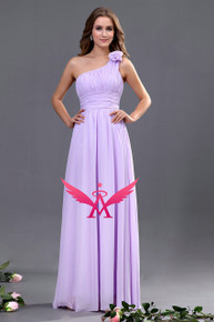 One Shoulder Flower Bridesmaid Dress