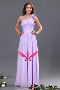 One Shoulder Flower Bridesmaid Dress