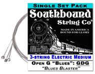 "Electric Medium ""Blues Blaster"" 3-String Cigar Box Guitar Strings - Low Open G - GDG"