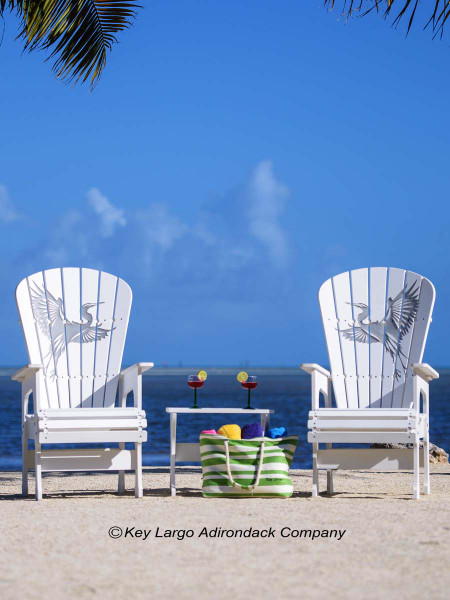The Conch Key - Chair Set comes with two chairs with your choice of designs on each chair, along an accessory table.