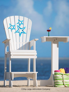 Outdoor Patio Lifeguard Chair - Starfish Blue