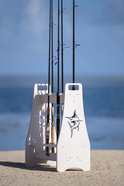 Fishing Rod Rack with Marlin Cutout - Fishing Rod Holder