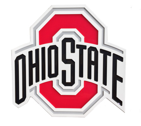 "Absolutely beautiful hand poured Epoxy Resin Embossed logo wall plaque of the Ohio State Buckeyes.  Size: 17.5"" wide by 16.25"" high by .75"" thick plaque is certain to be noticed.  Great for dorm rooms, entertainment rooms, sports bars,  yard decorations and more..."