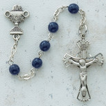 5MM BUE GLASS COMM ROSARY