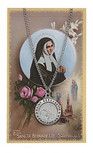 """ST BERNADETTE MEDALS PEWTER WITH PRAYER CARD AND MEDAL ON 18"""" CHAIN"""