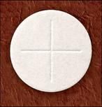 """1 3/8"""" Diameter  Altar Bread White ( Cross Design ) box of 1000"""