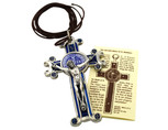 St. Benedict Crucifix with Cord and Booklet (Blue)