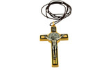 "3"" Colored Enamel St. Benedict Crucifix with Round St. Benedict Medal, Cord, and Booklet (Gold-tone w/ Black enamel)"