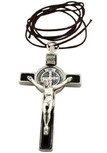 "3"" Colored Enamel St. Benedict Crucifix with Round St. Benedict Medal, Cord, and Booklet (Silver-tone w/ Black enamel)"