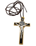 St. Benedict Crucifix with Oval St. Benedict Medal, Comes with Cord and Booklet Explaining the St. Benedict Medal (Gold-tone w/ Brown Enamel)