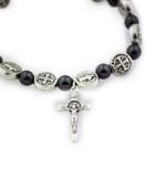 St. Benedict Medal Stretch Bracelet with Genuine Hematite Beads