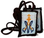 Authentic Catholic Scapular - 100% Wool (Children's Scapular w/ Brown Cord)