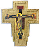 Catholic Wall Cross with Gold Trim and Wall Hook - Made in Italy (Cimabue)