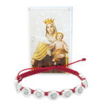 Catholic Adjustable Cord Bracelet with Woven Medals (Sacred Heart / Our Lady of Mount Carmel)