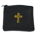 Genuine Leather Catholic Rosary Case (Black, 1 Pack)