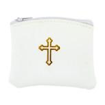 Genuine Leather Catholic Rosary Case (White, 1 Pack)