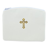 Beautiful Catholic Rosary Case (White, 1 Pack)