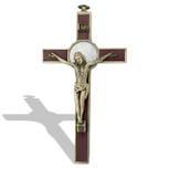 Deluxe Catholic Saint Benedict Wall Crucifix (Antique Brass)