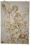 "Large Saint Michael Sculpted Wall Plaque, 23"" x 15"""