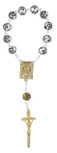 Sorrowful Mother One Decade Rosary with Rosette Beads and Gold-Tone Accents
