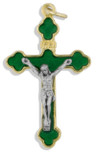 "1.5"" Latin-Style Crucifix with Colored Enamel and Gold Trim"