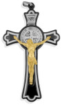 """Black Saint Benedict Cross with White Enamel Inlays, 3"""""""