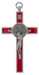 """Saint Benedict Wall Cross with Colored Enamel, 5"""" x 3"""""""