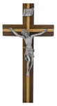 "10"" Walnut Crucifix with Oak Inlays and Pewter Corpus"