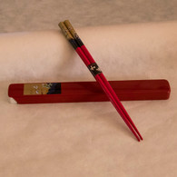 Red Crowned Cranes in Flight Chopsticks - Red