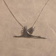 Flying Crane Sterling Pendant with Chain