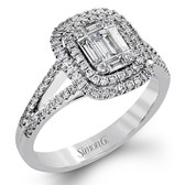 Simon G. Mosaic Collection.  18K 0.44ctw round diamonds,  0.36ctw baugette diamonds.  Right Hand Ring