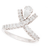 Towne Collection 14K White Gold Fashion Ring with Pear shape diamond 0.42ct, Round diamonds 0.65ctw