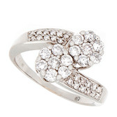 Towne Collection 14K White Gold Contemporary Fashion Ring Round Diamonds 1.06ctw