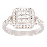 Towne Collection 14K White Gold Fashion Ring Princess Diamonds 0.63ctw and Round Diamonds 0.30ctw