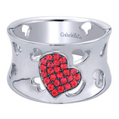 Gabriel&Co. Ladies' Ring Collection:Eternal Love Style:Fashion  Color Stone Quality:Ra - A Quality Ruby, Diamond Quality:None Metal Type:925 Silver