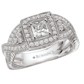 Romance Complete Square Halo with Princess-Cut Center Diamond Ring in 14kt White Gold. (D.7/8 carat total weight includes D3/8 princess-cut center)