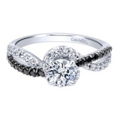Gabriel&Co. Adore Category:Engagement Ring Collection:Contemporary Style:Bypass Color Stone Quality:Bd - Black Diamond Diamond Total:0.93 ct Metal Type:14k White Gold Diamond: Center Stone Included