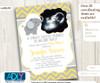 Yellow Grey Elephant Ultrasound Photo Baby Shower invitation for a Boy, chevron