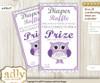 Girl Owl Diaper Raffle Printable Tickets for Baby Shower, Purple Grey, Chevron