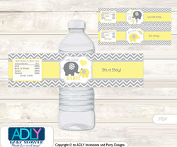 Boy Elephant Water Bottle Wrappers, Labels for a  Elephant  Baby Shower,  Yellow Grey,  Chevron