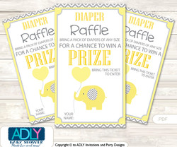 Boy Elephant Diaper Raffle Printable Tickets for Baby Shower,  Yellow Grey,  Chevron