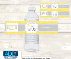 Babee Bumble Water Bottle Wrappers, Labels for a  Bumble  Baby Shower,  Bee,  Neutral