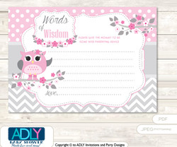 Grey Spring Owl Words of Wisdom or an Advice Printable Card for Baby Shower, Pink