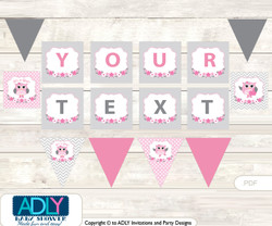 Personalized Spring Owl Printable Banner for Baby Shower, Grey, Pink