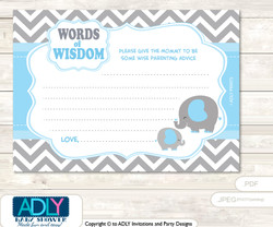 Boy Grey Blue Elephant Words of Wisdom or an Advice Printable Card for Baby Shower, Chevron